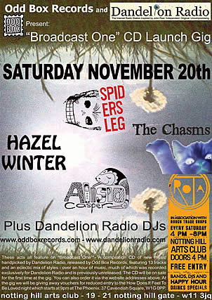 Flyer for the 'Broadcast One' Dandelion Radio compilation CD launch party on 20/11/2010