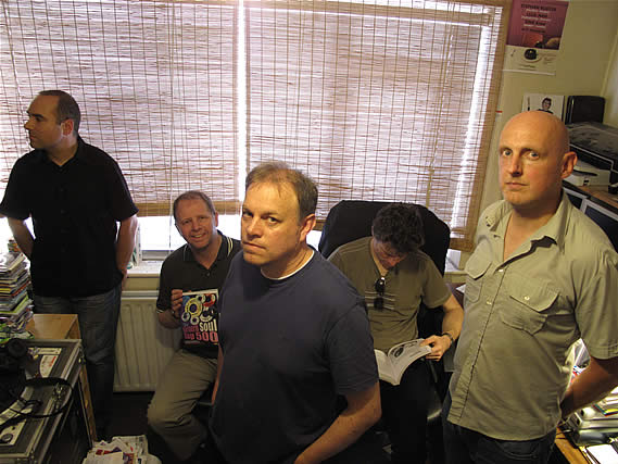 "Beatnik Filmstars relax while recording their ""Peel Legends"" session for Rocker's show - 5/8/09"