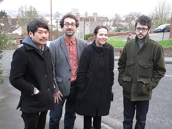 Eux Autres outside Rocker's studio while recording their session for his April show - 28/2/2011